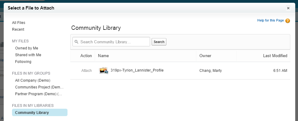Select a File to Attach in internal community