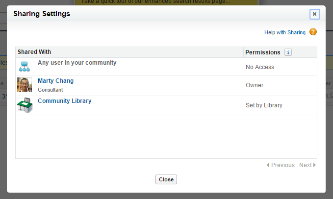 File Sharing Settings in external community