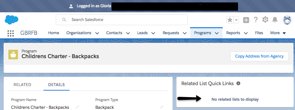 Screenshot of related list in Lightning View