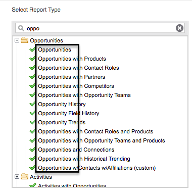 Shows screenshot of opportunities report types