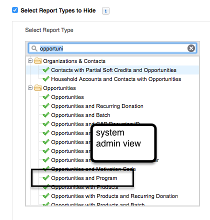 Screeshot of system admin view of opportunity report types.